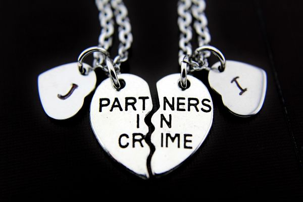 Silver Partner In Crime Charm Necklace