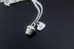 Silver Cupcake Charm Necklace