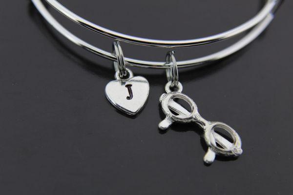 Silver Eyeglasses Charm Bracelet