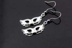 Silver Mardi Mask Charm Dangle Earrings