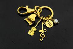 Gold Music Charm Keychain Personalized Keychain