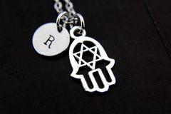 Silver Star of David Hamsa Charm Necklace