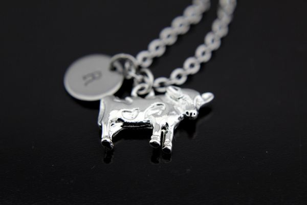 Silver Cow Charm Necklace