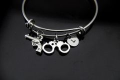 Revolver Bracelet, Handcuffs Bangle, Revolver Charm, Handgun Charm, Piston Charm, Police Wife Gift, Personalized Gift, Best Friend Gift