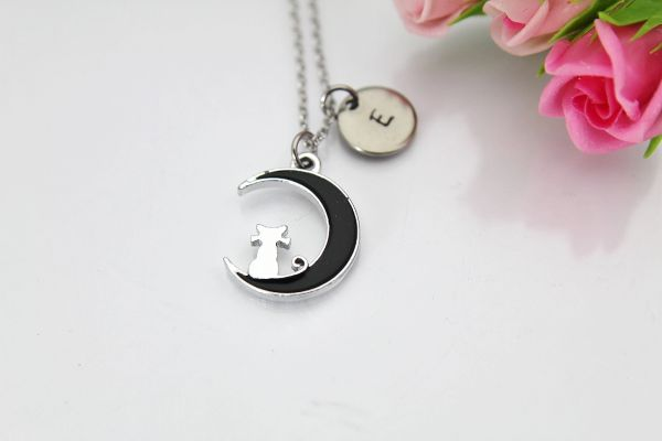 Cat Sitting on the Moon Charm Necklace, Personalized Gift