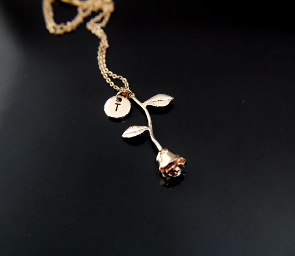 flower rose gold necklace personalized initial necklace