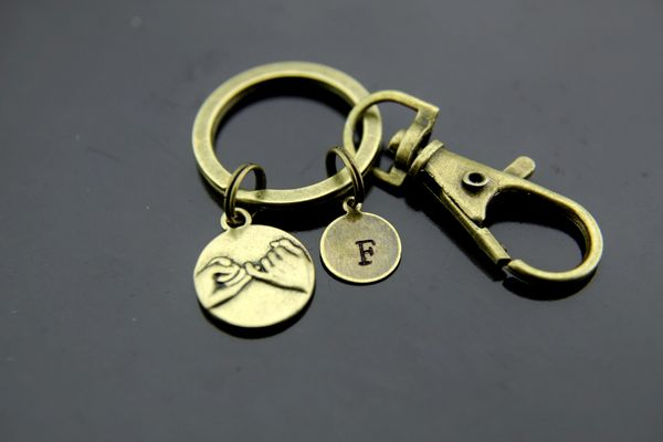 Bronze Pinky Promise Charm Keychain