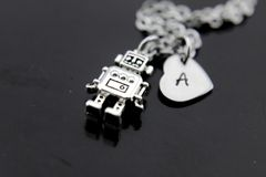 Silver Robot Charm Necklace