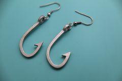 Silver Fishhook Charm Dangle Earrings
