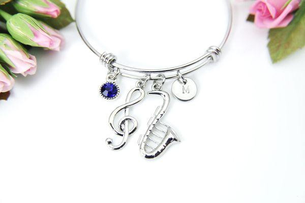 Silver Saxophone Music Melody Charm Bracelet, Personalized Bracelet