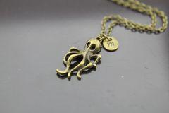 Bronze Octopus Charm Necklace