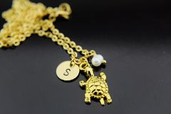 Turtle Necklace, Gold Turtle Charm Necklace, Personalized Necklace