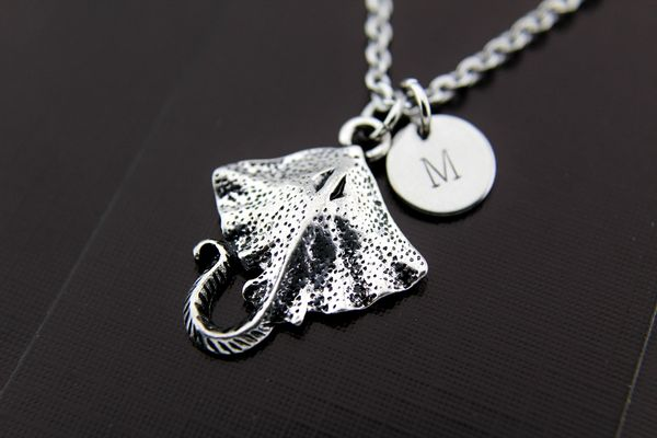 Silver Stingray Fish Charm Necklace