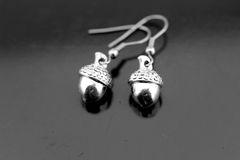 Acorn Earrings, Silver Acorn Charm Dangle Earrings