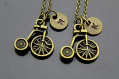 2 Best Friends Necklace Tricycle Charm Necklace