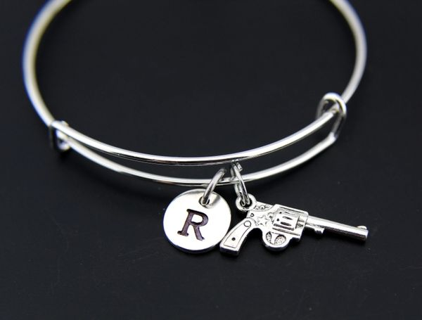 Gun Bangle, Gun Charm Bracelet, Expandable Bangle