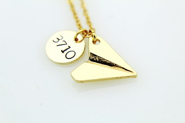 Paper Airplane Necklace Gold Necklace Personalized Necklace