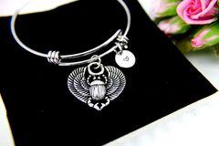 Scarab Bracelet, Scarab Jewelry, Egyptian Bangle, B095