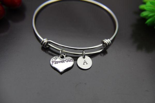 Silver Flower Girl Charm Bracelet, Personalized Bracelet, Expandable Bangle, Initial Bracelet, Monogram