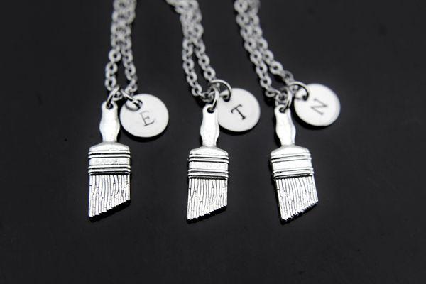 3 Best Friends Necklace Paintbrush Charm Necklaces