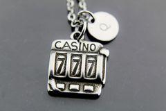 Bunco Necklace, Silver Casino Charm Necklaces, Personalized Necklace