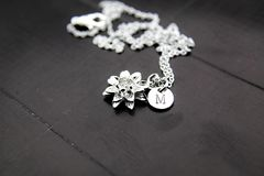 Silver Lotus Charm Necklace