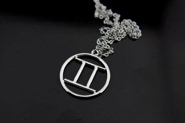 Silver Gemini Sign Charm Necklace