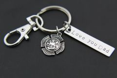 Silver Firefighter Badge Charm Keychain