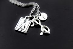 Silver Reading Eye Chart Eyeglasses Charm Necklace