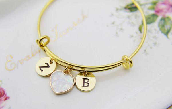 Heart Bracelet Imitation Opal Charm Bracelet Personalized Bangle