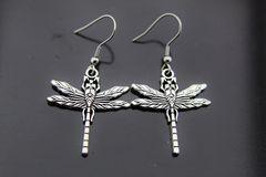 Dragonfly Earrings, Silver Dragonfly Charm Dangle Earrings