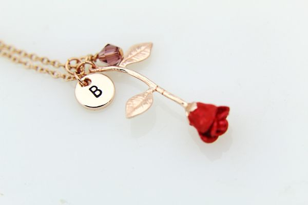 Rose Necklace Rose Gold Rose Necklace Personalized Necklace