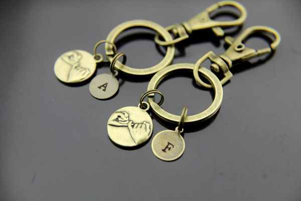2 Best Friends Keychain Bronze Pinky Promise Charm Keychain