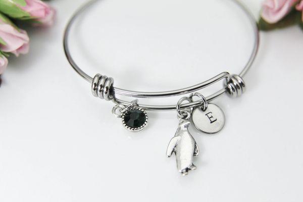 Silver Penguin Charm Bracelet, Personalized Bracelet, B146