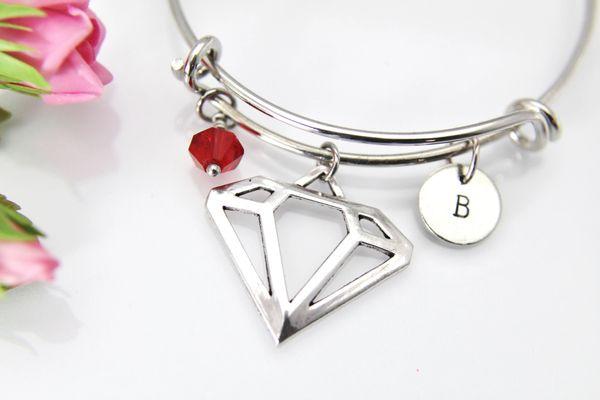 Silver Diamond Charm Bracelet, B140