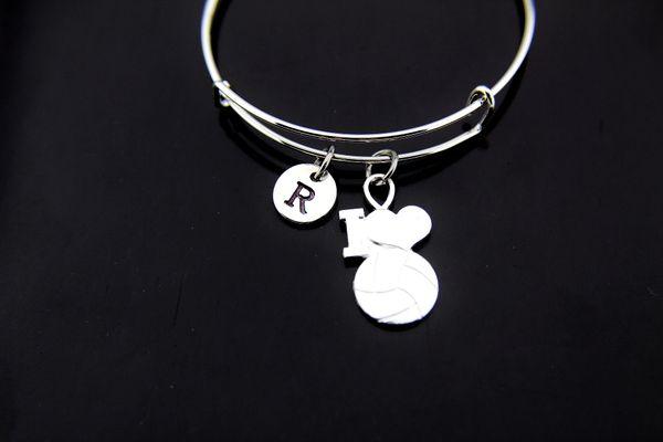 Silver I Love Volleyball Charm Bracelet
