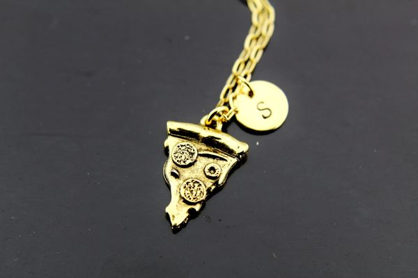 Pizza Necklace, Gold Pizza Pie Charm Necklace, Personalized Necklace