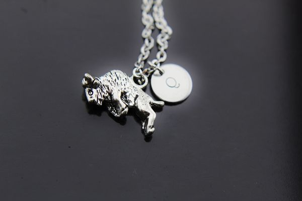 Bison Necklace, Silver Bison Buffalo Charm Necklaces, Personalized Necklace