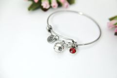 Silver Volleyball Charm Bracelet, Personalized Bracelet, B149