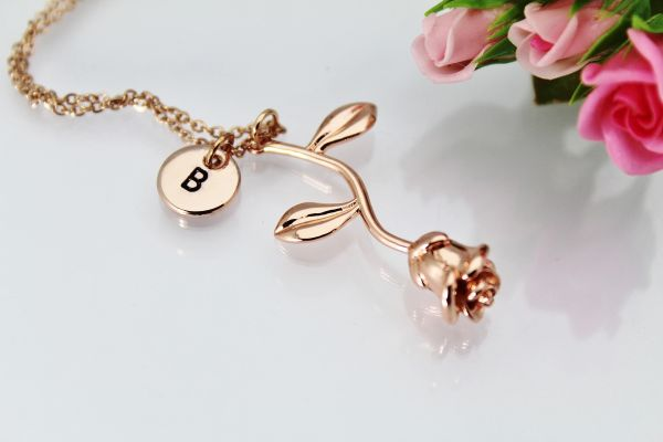 Rose Gold Rose Necklace, Rose Flower Jewelry, Personalized Gifts