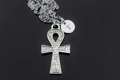 Ankh Cross Necklace, Silver Egyptian Ankh Cross Charm Necklaces