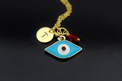 Evil Eye Necklace, Personalized Evil Eye Charm Necklaces