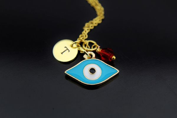 Evil Eye Necklace, Personalized Evil Eye Charm Necklaces