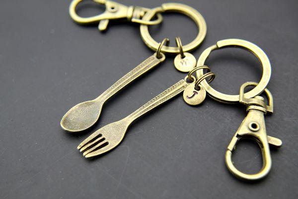 Bronze Spoon Charm Fork Charm Keychain