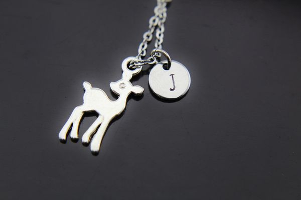 Fawn Necklace, Silver Fawn Deer Charm Necklaces, Personalized Necklace
