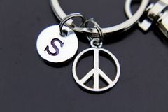 Silver Peace Sign Charm Keychain Personalized Keychain