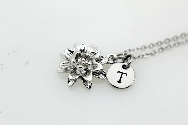 Silver Lily Charm Necklace Lotus Charm Necklace