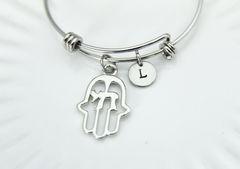 Silver Hamsa Chai Charm Bracelet, B120