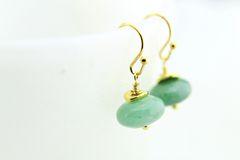 Gold Natural Green Aventurine Dangle Earrings