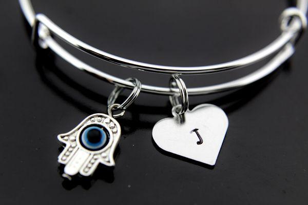Silver Hamsa Evil Eye Charm Bracelet